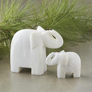Marble Elephant Pair