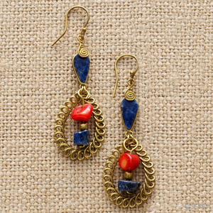 Red Blue Curlicue Earrings