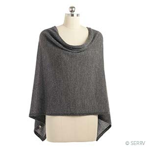 Alpaca Poncho - Gray Heather