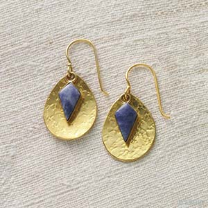 Lapis Shield Earrings
