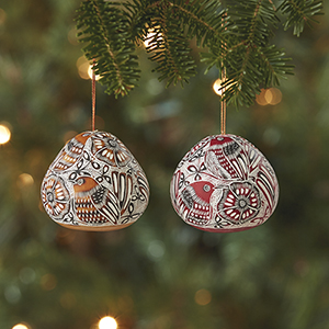Avian Motif Gourd Ornaments - Set of 2