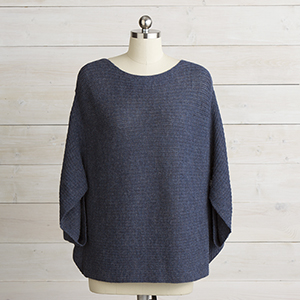 Knit Poncho Sweater Indigo Heather