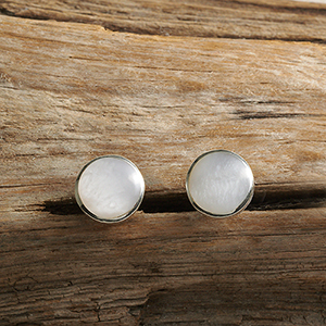 Mother-of-Pearl Button Earrings