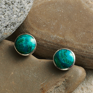 Peruvian Turquoise Button Earrings