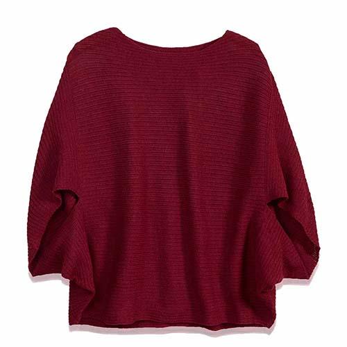 Knit Poncho Sweater - Cranberry