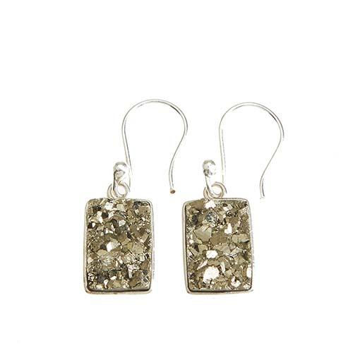 Peruvian Pyrite Druzy Earrings