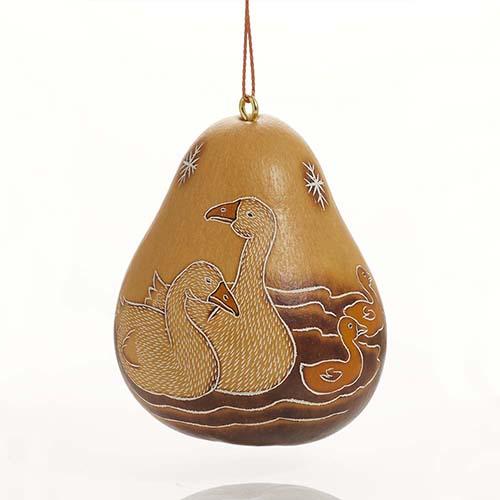 Goose Family Gourd Ornament