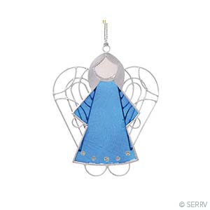 Blue Capiz Angel Ornament