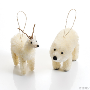Polar Bear & Reindeer Ornament Set