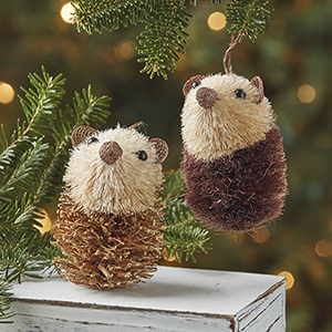 Abaca Hedgehogs Ornament Set
