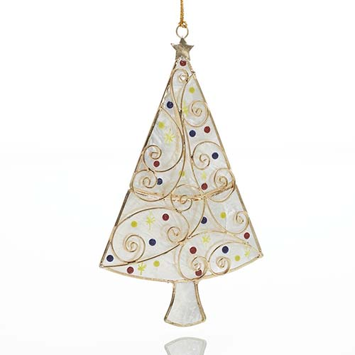 Capiz Christmas Tree Ornament