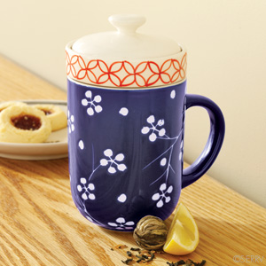 Blue Floral Tea Infuser with Cup