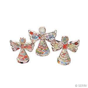 Recycled Paper Standing Angels - Set of 3