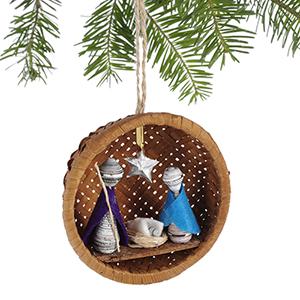 Basket Nativity Recycled Ornament