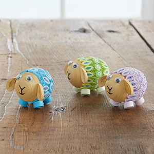 Set of 3 Quilled Pastel Sheep