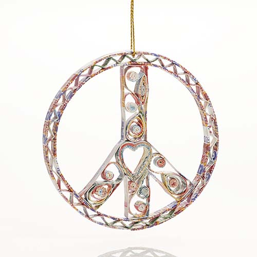 Recycled Paper Peace Sign Ornament