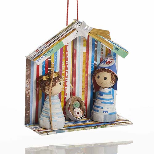 Recycled One-Piece Nativity Ornament