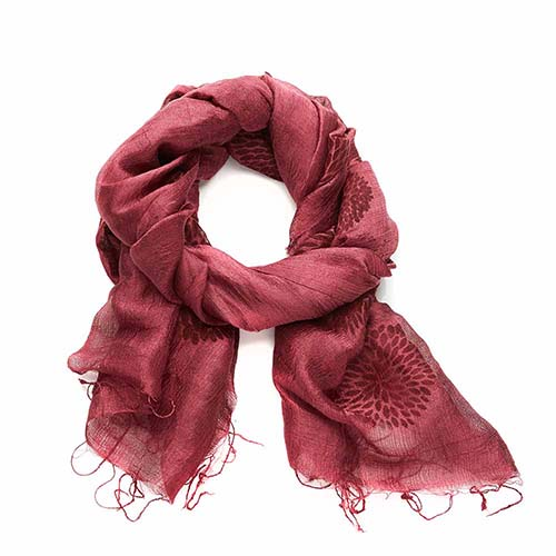 Cranberry Chrysanthemum Scarf