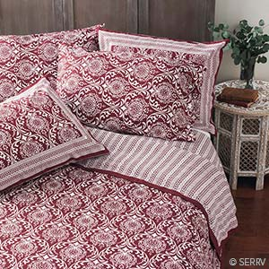 Burgundy Jaipur Bedding