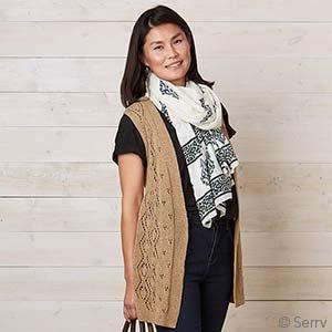 Long Knit Diamond Camel Vest