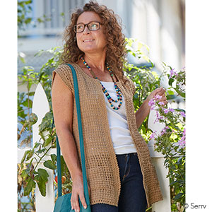 Long Crocheted Cardigan - Tan