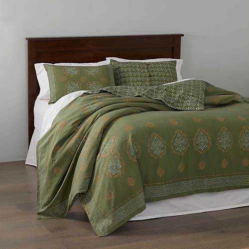 Block Print Mandala Bedding - Olive Green