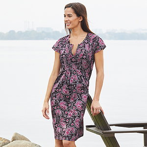 Maya Dress - Plum Paisley