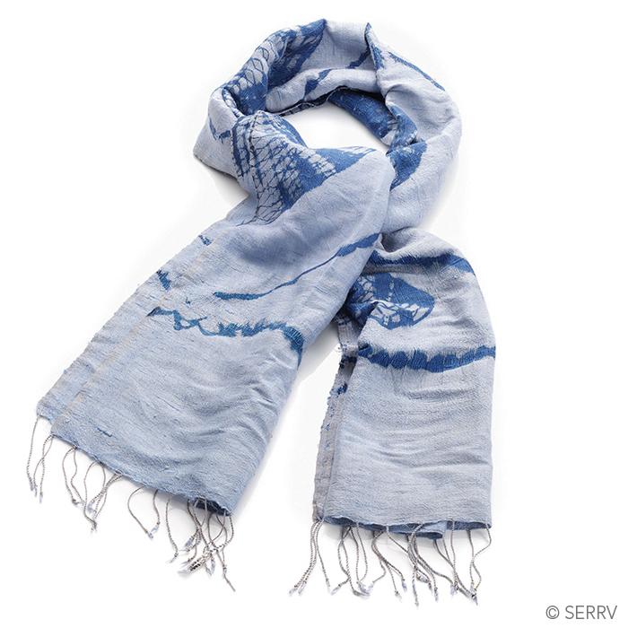 Bluesy Raw Silk Scarf