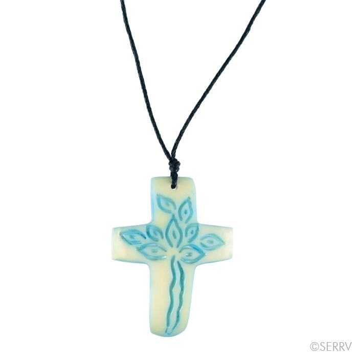 Sky Blue Tagua Cross Necklace