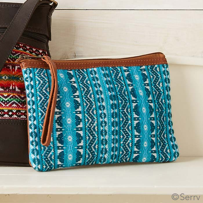 Medium Turquoise Leather Wristlet