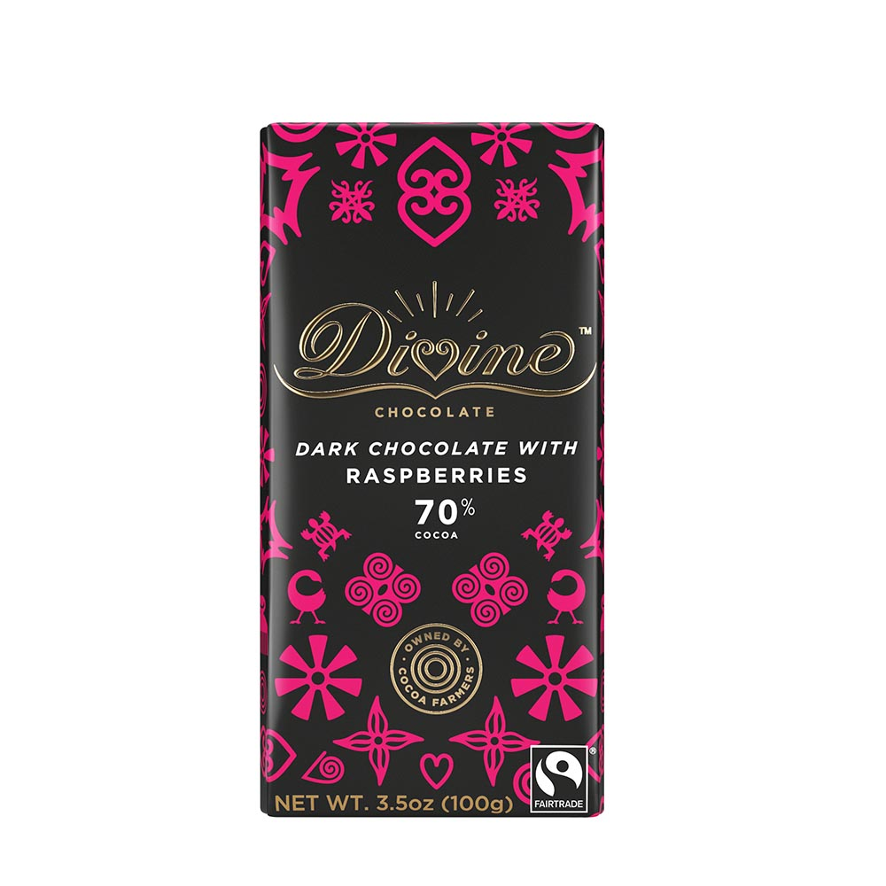 70% Dark Chocolate with Raspberries Large Bar Case