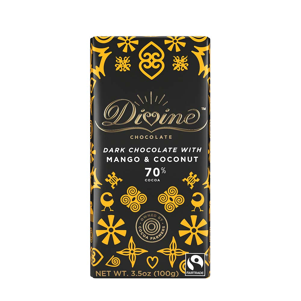 70% Dark Chocolate with Mango & Coconut Large Bar Case