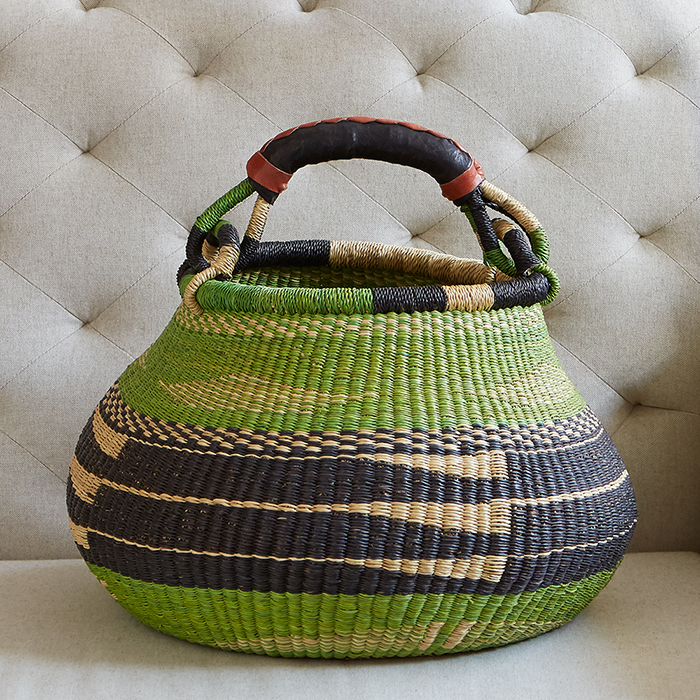 Apple Green Handled Bolgatanga Basket