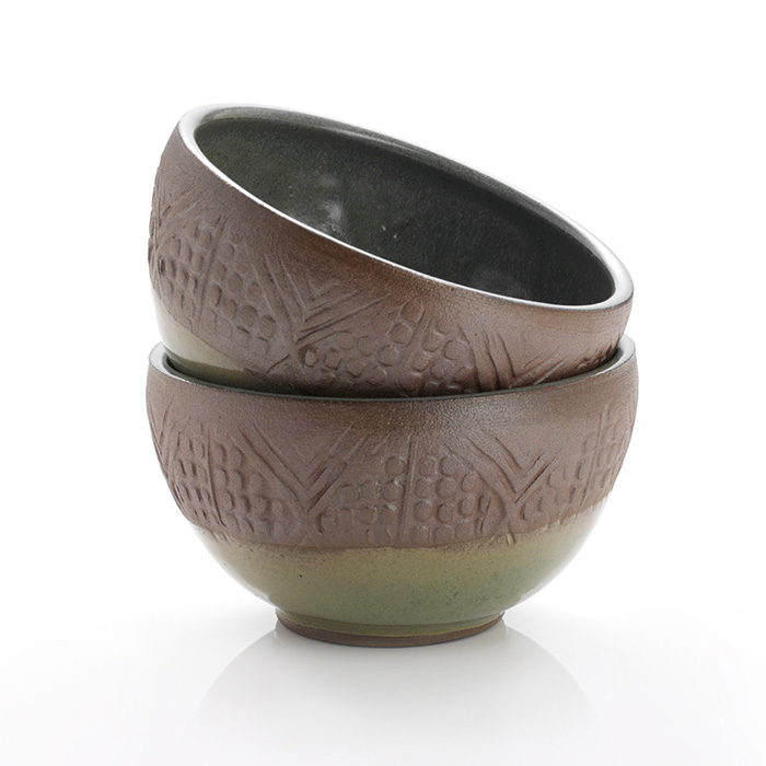 Small Stamped Geo Bowls Set