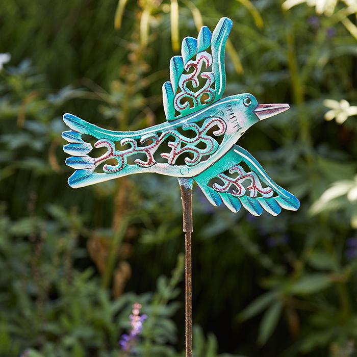 Green Bird Garden Stake