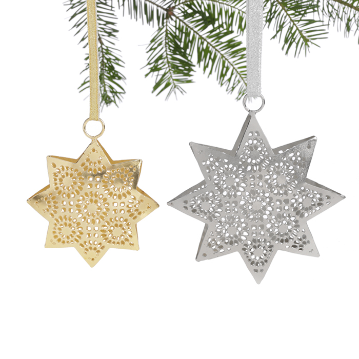 Silver & Gold Iron Star Ornaments