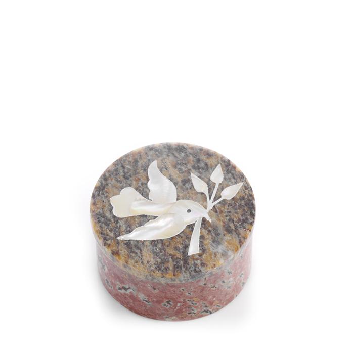 White Dove Inlay Stone Box