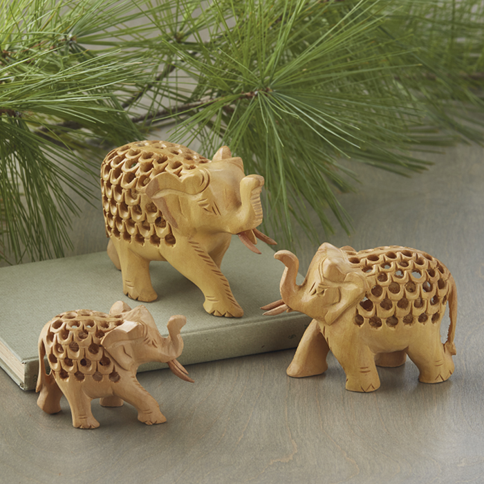 Double-Carved Wood Elephant Family
