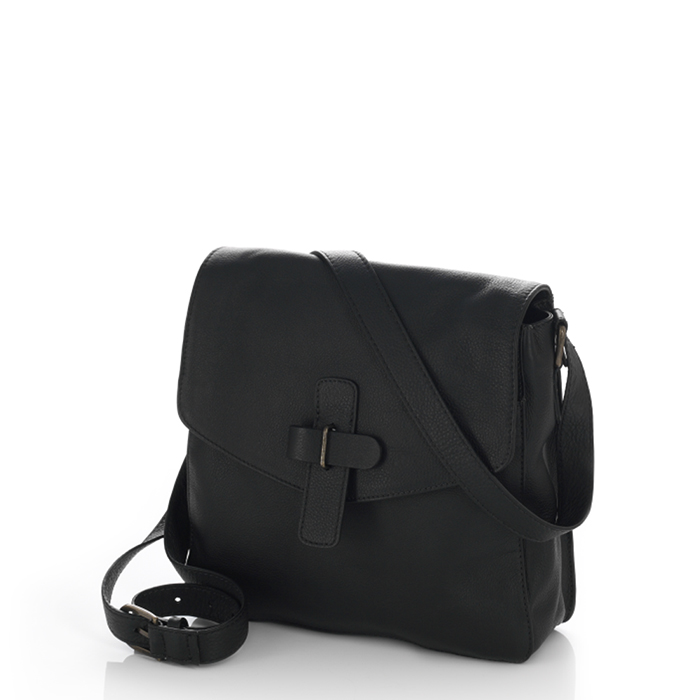 Kolkata Leather Crossbody Bag - Black