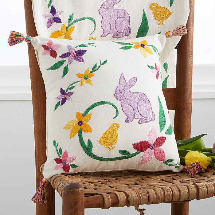 Embroidered Easter Pillow