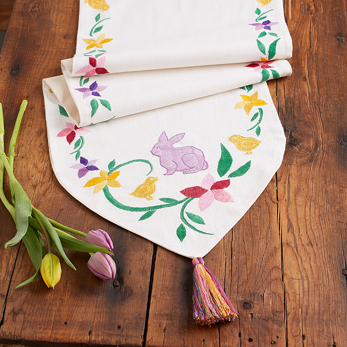 Embroidered Easter Table Runner