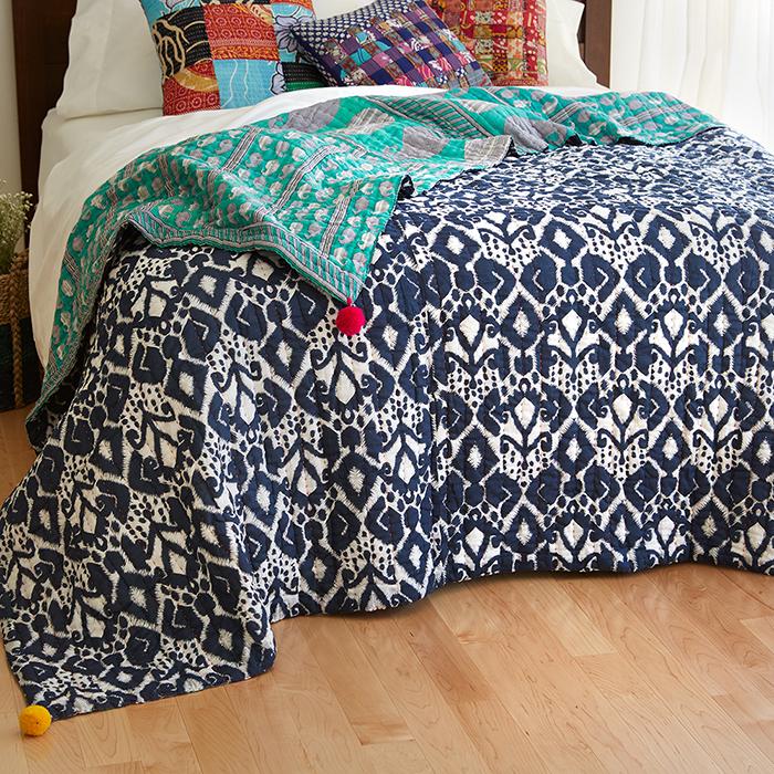Reversible Ikat/Sari Bedcover