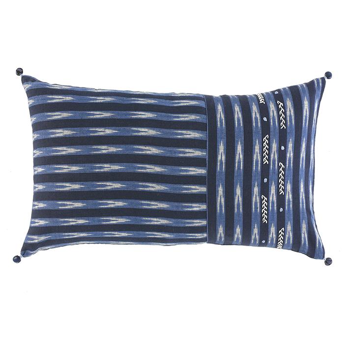 Embroidered Ikat Lumbar Pillow