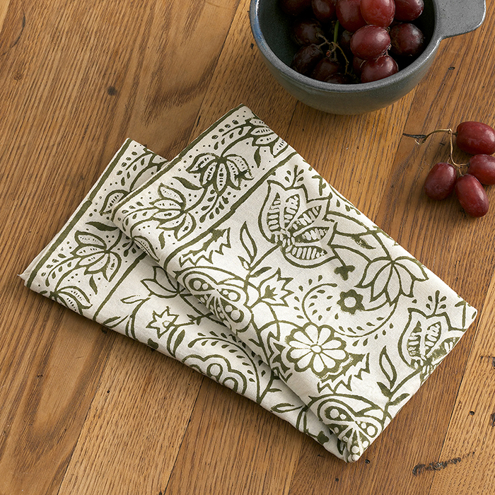 Olive Wildflower Napkins Set of 2