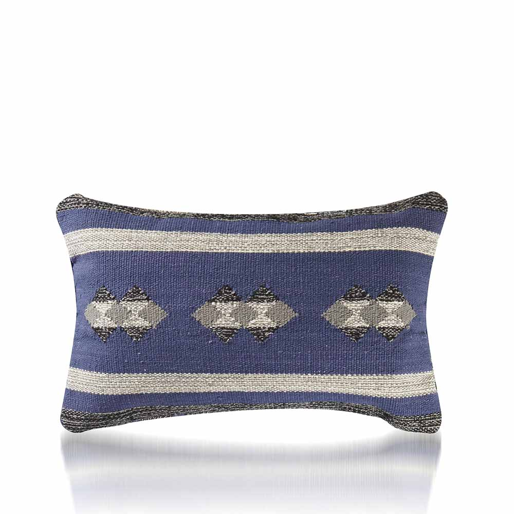 Kilim Lumbar Pillow - Blue & Gray
