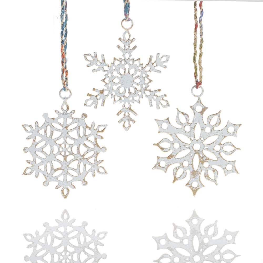 White Snowflake Ornament Set