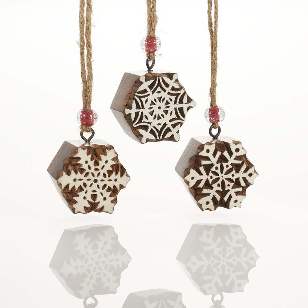 Woodblock Snowflake Ornament Set