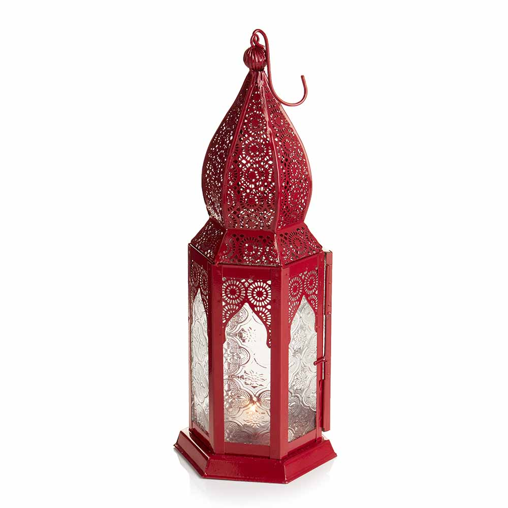 Large Red Moroccan Motif Lantern