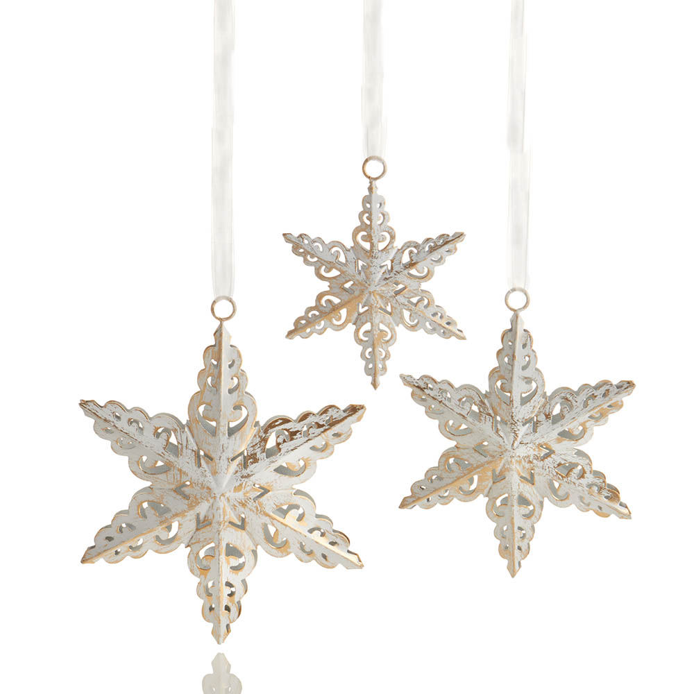 Antique White Snowflake Ornament Set