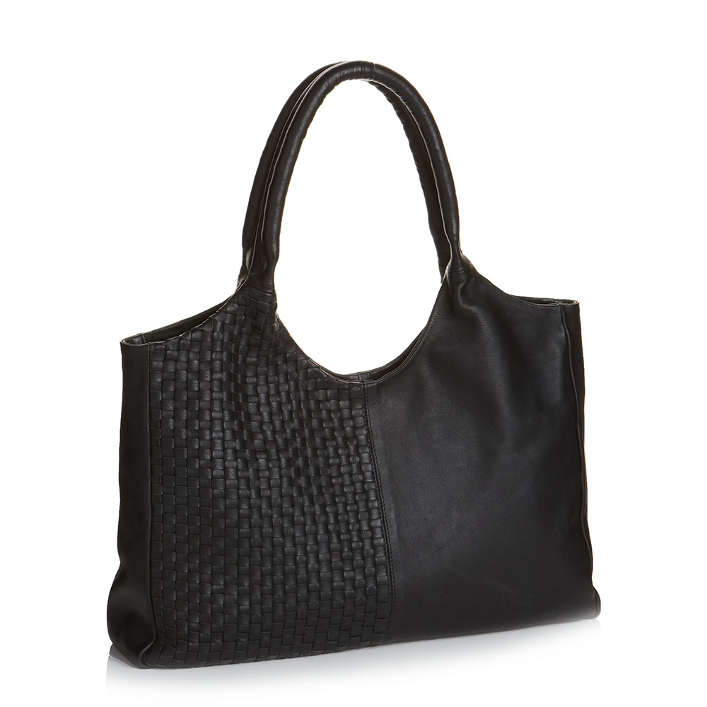 Essential Leather Bag - Woven Black